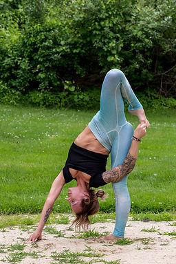 Gina Mandella practices a yoga binding posture