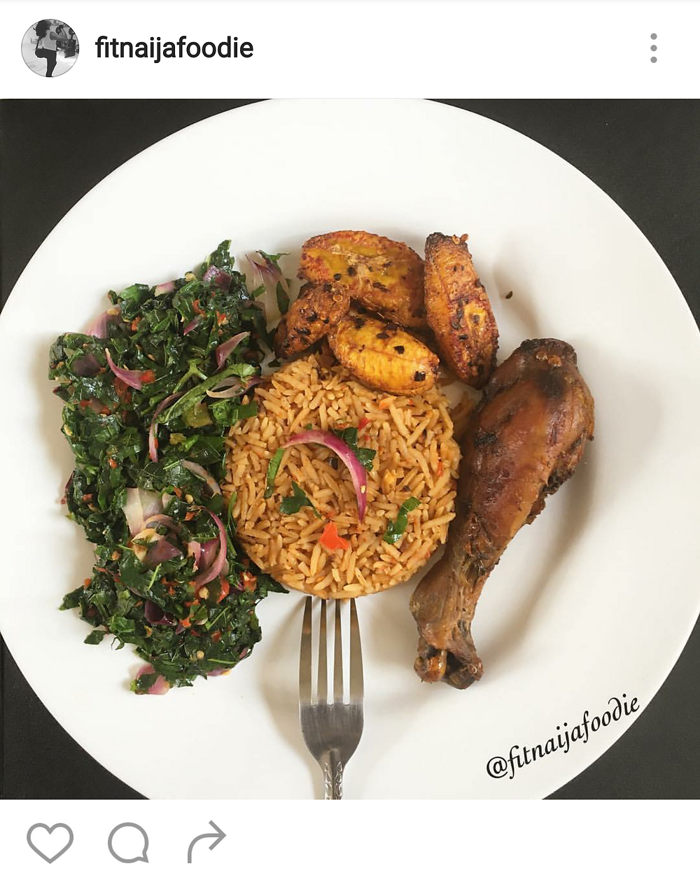Jollof rice, plantain and chicken