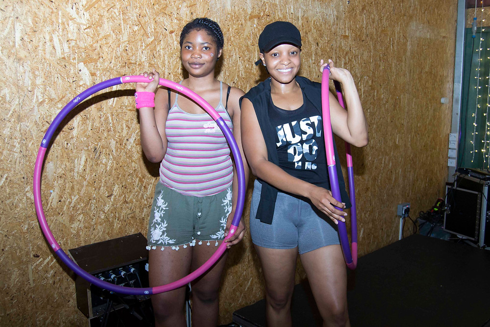 The two girls who came 1st and 2nd in the hula hoop contest