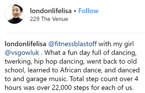 Fitness Blastoff with my girl. What a fun day full of dancing, twerking, hip-hop dancing, went back old skool, learned African dance and dance to garage music. Total step count over 4 hours was over 22,000 steps for each of us.