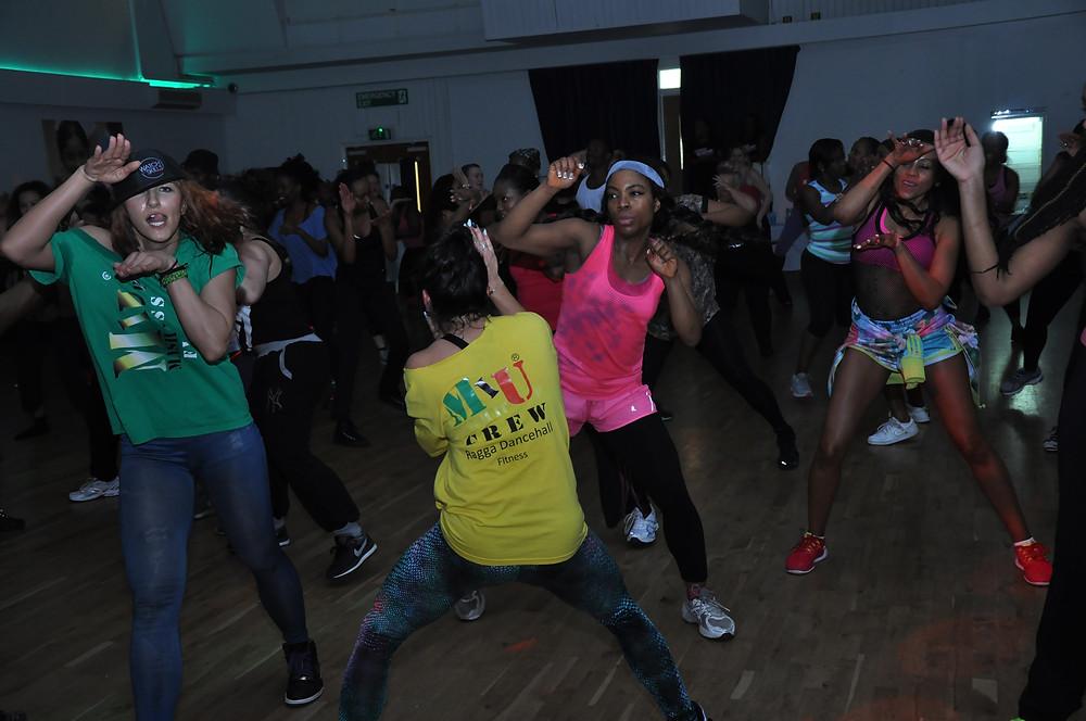Mash It Up Fitness Crew dancing at Fitness Blastoff event