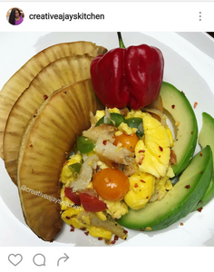 Fried breadfruit, pear or avocado, ackee and saltfish
