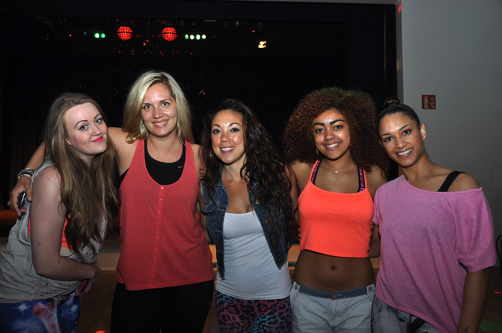 A group of friends at one of our Fitness Blastoff Bash