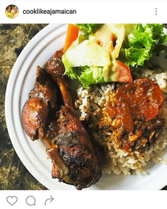 Brown stew chicken, rice and peas with salad