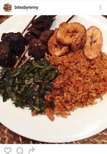 Jollof rice, plantain and beef skewers
