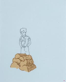 Boy Behind Woodpile