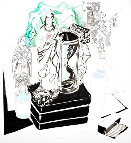 """Title – Recourse of faith    Date - 2020 Medium:  Pencil, ink  Ink and watercolor  on paper  Size:  34 ¾"""" x 22""""  Photo:  Fantini"""
