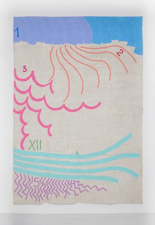 """Giorgio Griffa Numerazione doppia, 1996 Acrylic on canvas 113 x 76.8"""" / 287 x 195cm Photo: David Schulze ©Giorgio Griffa Image courtesy the artist and Casey Kaplan, New York"""