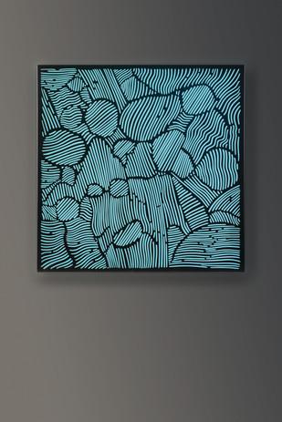 Antonia Papatzanaki, Structural 3, 2018, Stainless steel, Plexiglas, light, 47 ¼ X 47 ¼ X 4 inches.