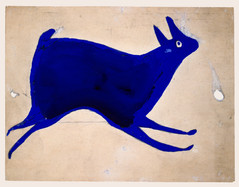 Bill Traylor, Blue Rabbit Running, 1939-1942 © Bill Traylor artwork is used by permission of Bill Traylor Family, Inc., and The Artistry of Bill Traylor, LLC