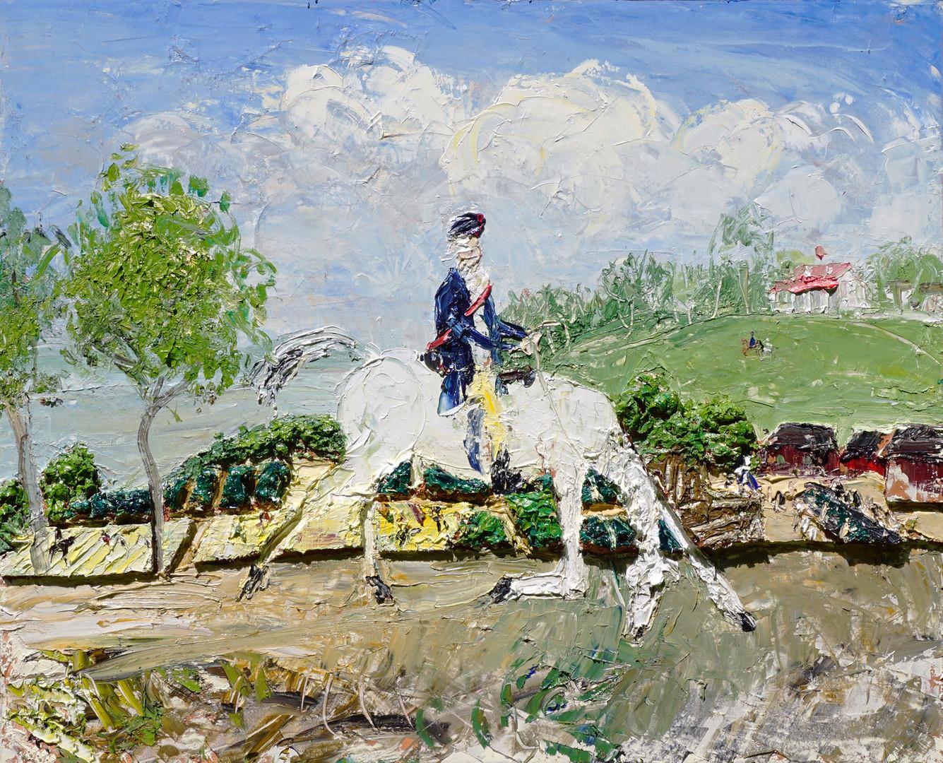 JOHN BRADFORD Washington Returns to Mount Vernon, 2019 acrylic, oil on canvas 48 x 60 in (121.9 x 152.4 cm)