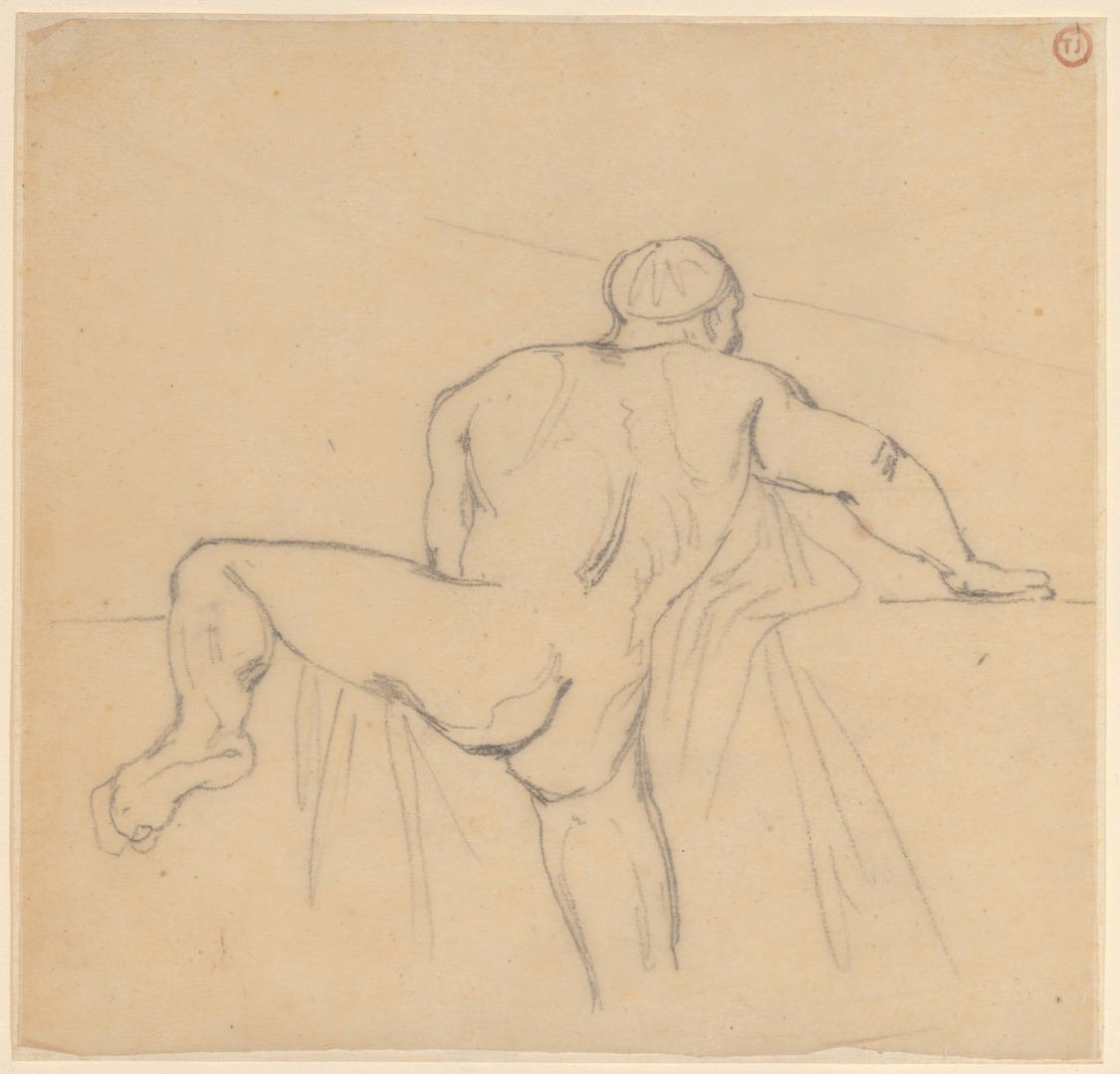 Théodore Géricault (French, 1791–1824) Man Seen from the Back, ca. 1818 Graphite on tracing paper, laid down 7 × 7 in. (17.8 × 17.8 cm), Framed: 12 × 12 in. (30.5 × 30.5 cm) Promised Gift of Michael A. Rubenstein, in celebration of the Museum's 150th Anniversary