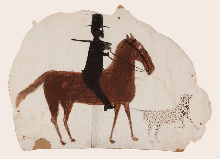Bill Traylor, Hunter on Horseback with Spotted Dog, 1939-1942 © Bill Traylor artwork is used by permission of Bill Traylor Family, Inc., and The Artistry of Bill Traylor, LLC