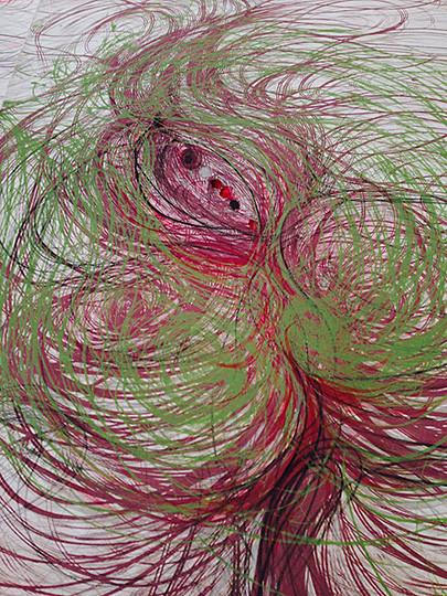 "Sobin Park, Deep Essence II, 2019, 36 x 45 1/2"" (91 × 116cm), pencil on paper, coloring"