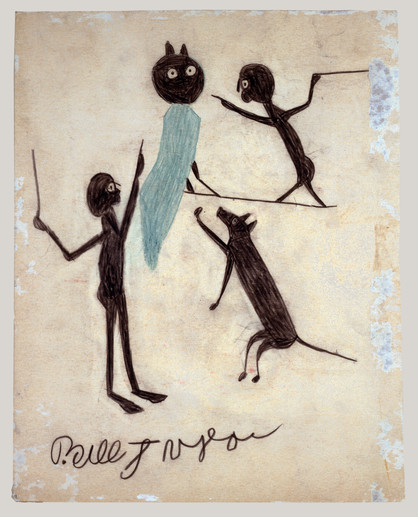 Bill Traylor, Two Men, Dog, and Owl, 1939-1942 © Bill Traylor artwork is used by permission of Bill Traylor Family, Inc., and The Artistry of Bill Traylor, LLC