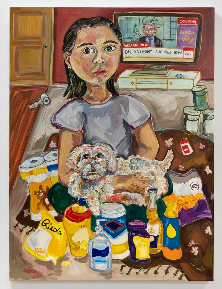 Susan Chen, COVID-19 Survival Kit, 2020, oil on canvas, 40 x 30 inches photo: Adam Reich