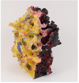 Renqian Yang, Urban Sprawl 7, 2016. Stoneware, underglaze, acrylic, 9.5 x 7 x 6.5 inches © Renqian Yang, courtesy Fou Gallery.