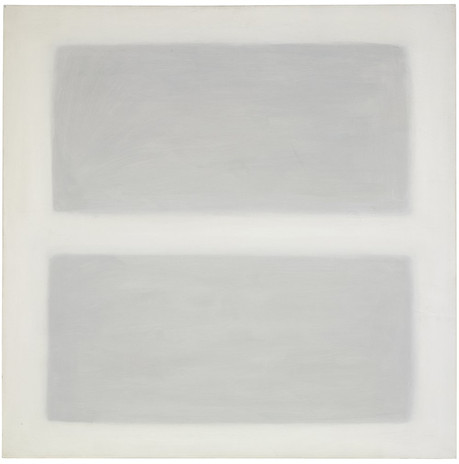"""Agnes Martin, Unbeckoning Grass, 1958, oil on canvas, 40"""" x 40"""" (101.6 cm x 101.6 cm) © 2019 Estate of Agnes Martin / Artists Rights Society (ARS), New York"""