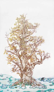 Michael Eade, Methuselah, 2019, Egg tempera, raised 23k gold leaf, raised aluminum and copper leaf on canvas, 60 x 36 inches ©Michael Eade, courtesy Fou Gallery