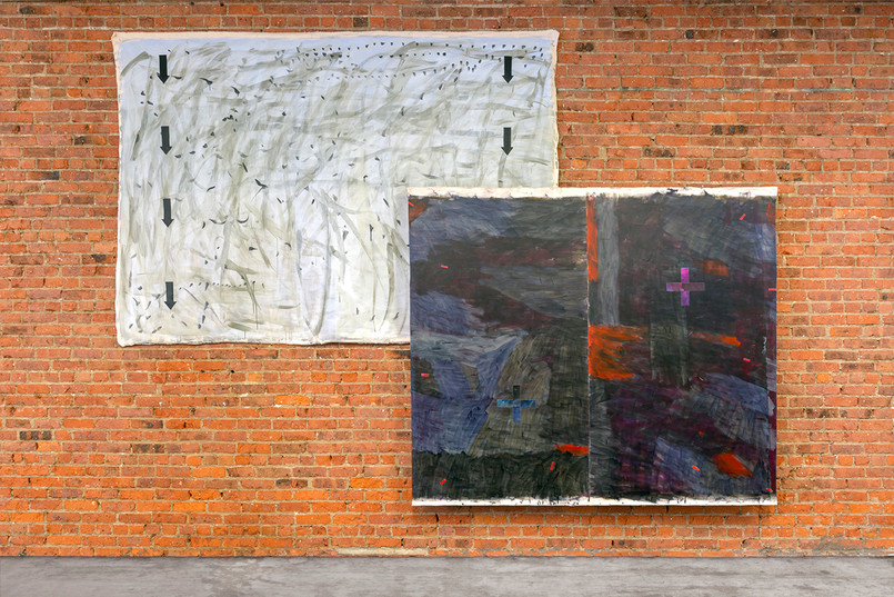 Soft Signs  Image details left to right When the Wind is Up, Look Down  105 x 72 Inches  Acrylic on canvas  2019     Oh Mountain!  83 x 72 inches  Acrylic on canvas  2019