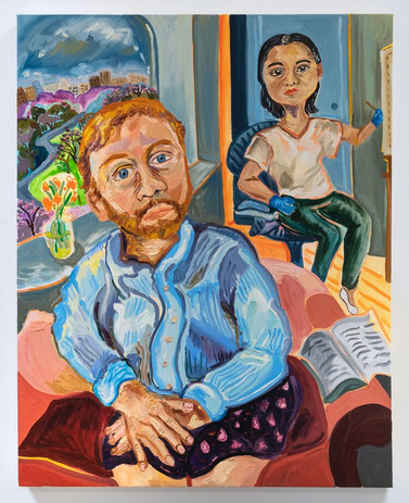 Susan Chen, Jimmy P and Me, 2020, oil on canvas, 30 x 24 inches photo: Adam Reich
