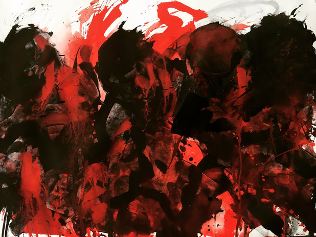 """""""Black, White and Red """", 2018, acrylic and ink on paper, 27 x 39 in"""