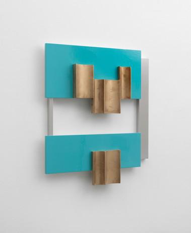 Richard Rezac Untitled (20-02), 2020 Cast bronze, painted wood, aluminum 29 x 25 x 4 inches