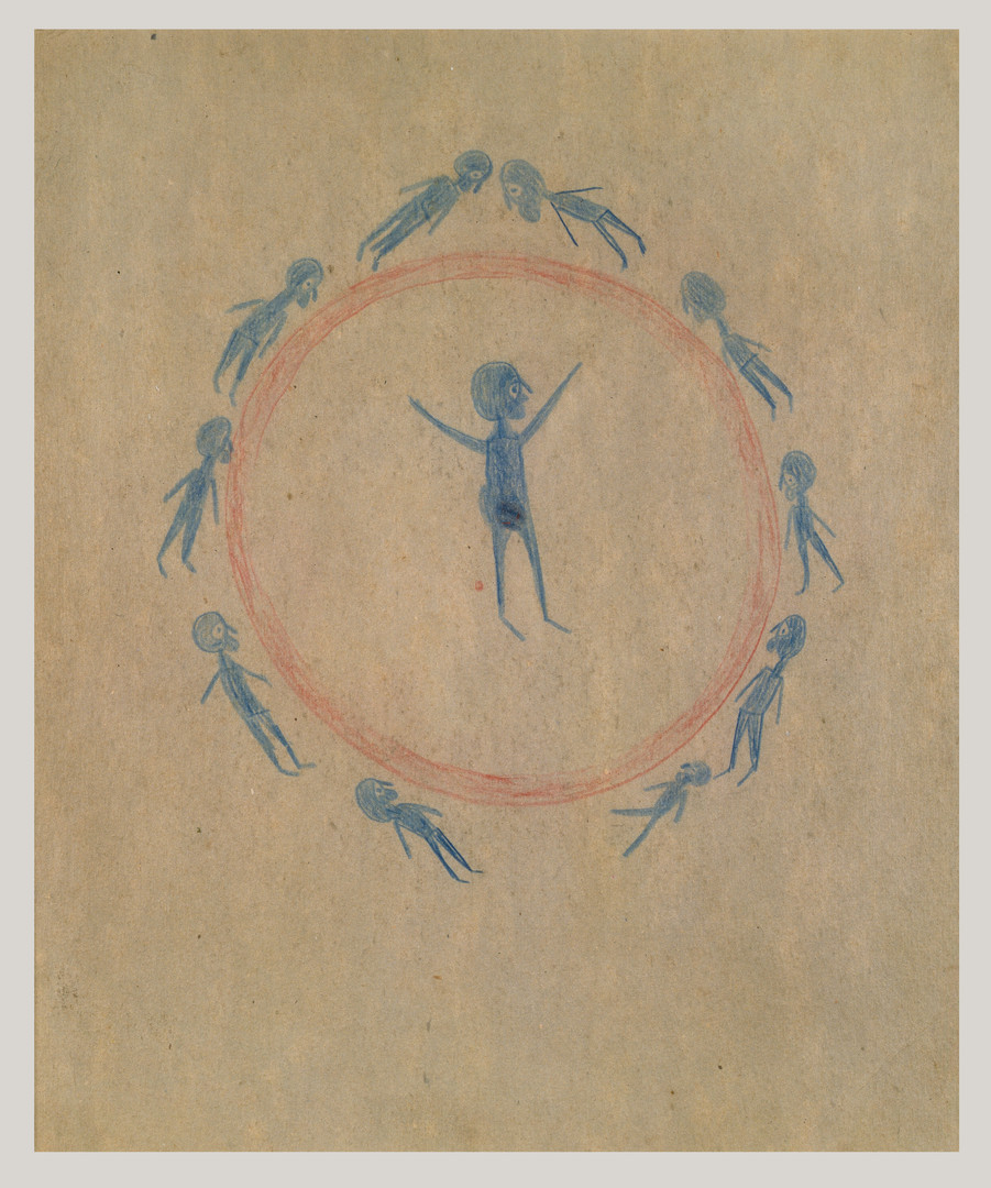 Bill Traylor, Preaching in Circle with Figures, c. 1939-1940 © Bill Traylor artwork is used by permission of Bill Traylor Family, Inc., and The Artistry of Bill Traylor, LLC