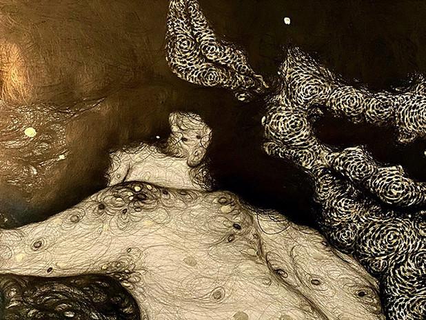 "Sobin Park, The Birth of New Female (detail), 2020, 59 x 90 1/2"" (150 × 230cm), pencil on paper, bronze powder"