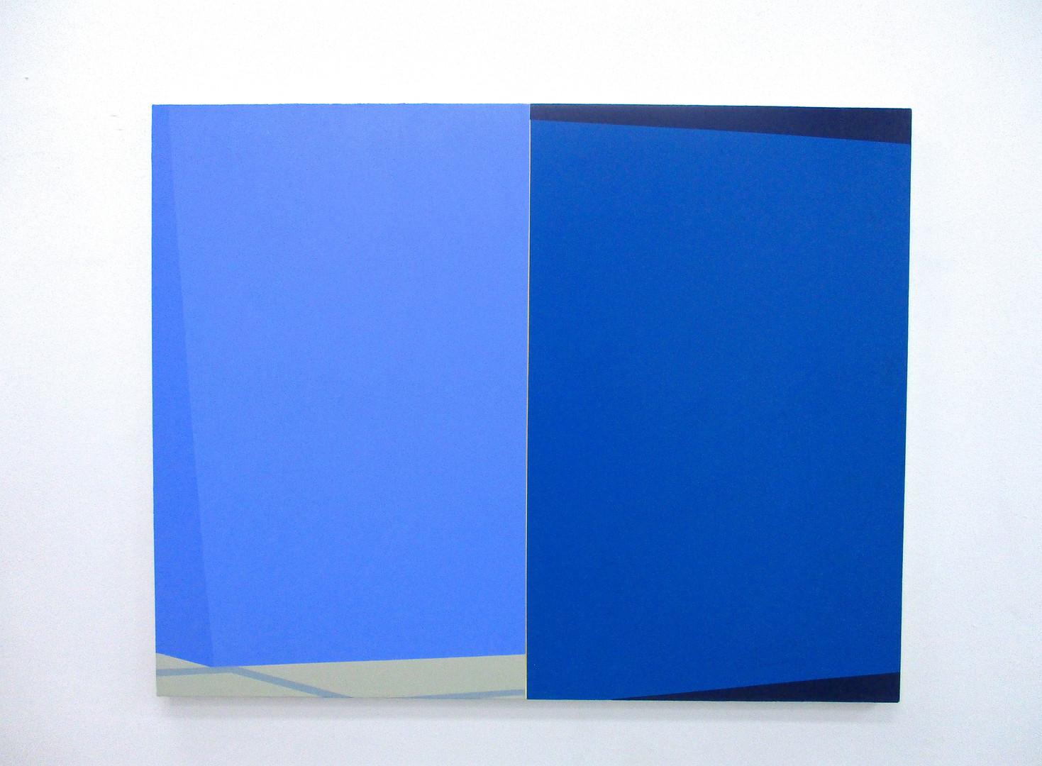 MACYN BOLT Intersect (Blue), 2017 Acrylic on canvas 38 x 48 in (Courtesy Lichtundfire)