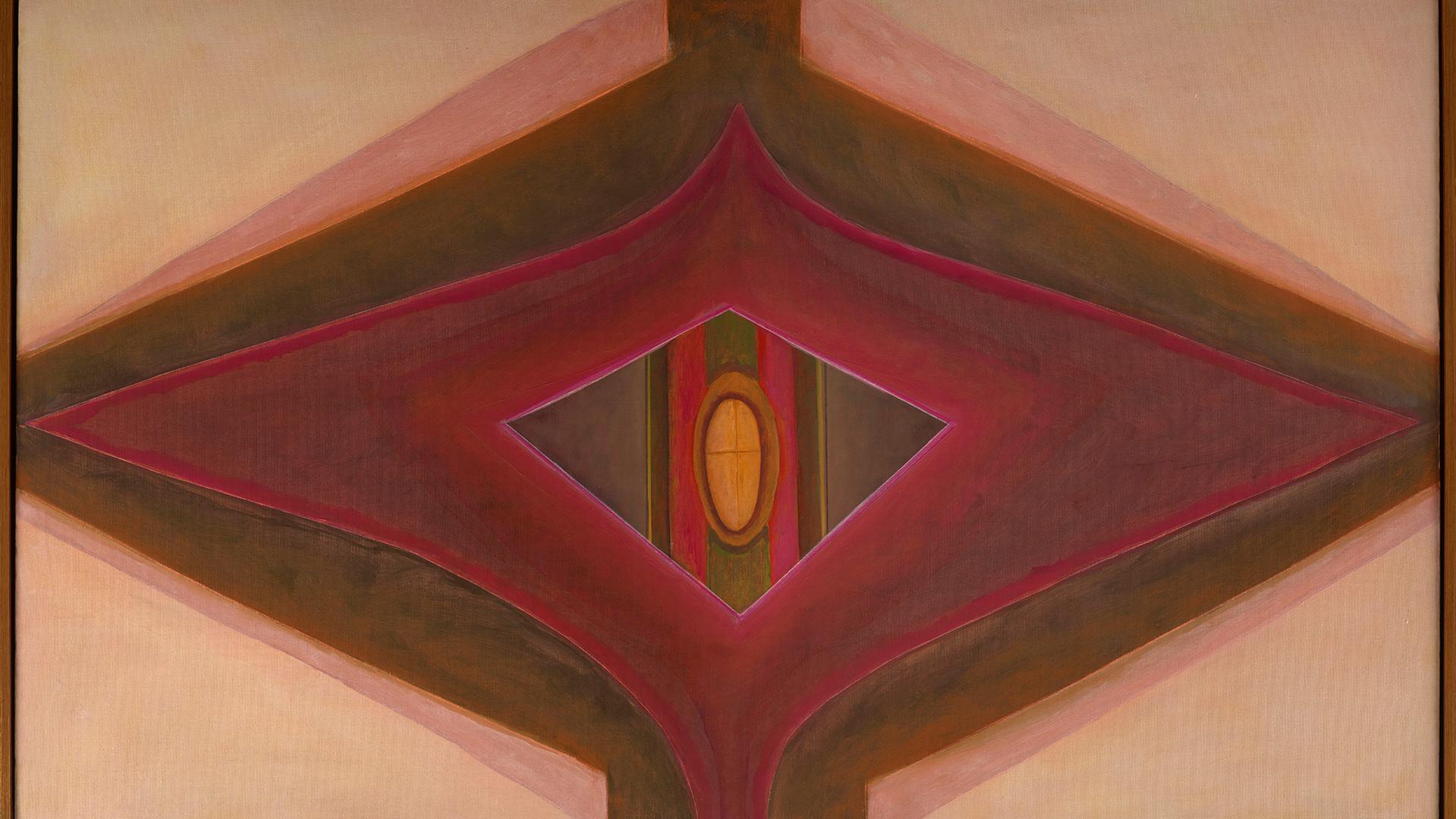 Ida Kohlmeyer (1912-1997) Cloistered, 1969  Oil on canvas 34 1/2 x 57 in. (87.6 x 144.8 cm) copyright Estate of Ida Kohlmeyer. Courtesy Berry Campbell, New York.