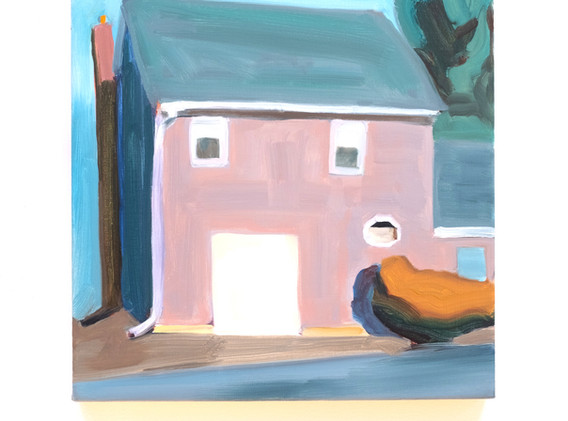 Maureen O'Leary Garage door oil on linen 12 x 12 inches 2020