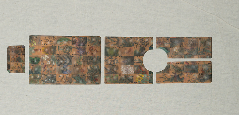 Zhang Yanzi 章燕紫   Sanctuary《宫》  2016   Ink on analgesic plasters 止痛贴、水墨  Collage of 5 Pieces  不规则5块拼接 30 × 20cm ;42 × 62cm;42 × 43cm;20 × 52cm;20 × 52cm    It has been included in Essence: Zhang Yanzi Solo Exhibition (2016) at Hong Kong Museum of Medical Sciences, Hong Kong (Hong Kong Museum of Medical Sciences × Galerie Ora-Ora);