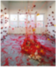Renqian Yang, 2013. Installation of porcelain, stoneware, fiber, found object, 10ft x 15ft x 10ft © Renqian Yang
