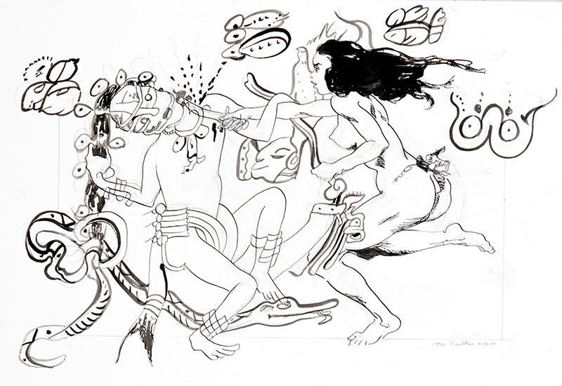 "Title – Desagravio  Date - 2020 Medium:  Pencil  and ink on paper  Size:  11"" x 17""  Photo:  Fantini"