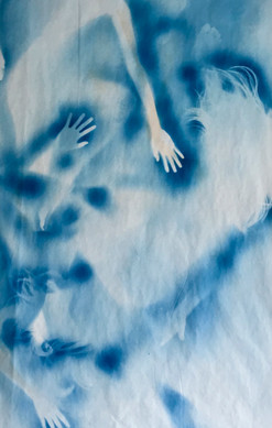 Han Qin, Ethereal Evolving 1, 2018, Cyanotype on paper, 82 x47 inches