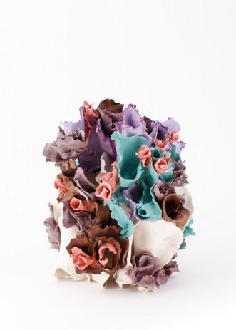 "Renqian Yang, Oime, 2021. Colored porcelain paper clay with glaze, 9.5"" x 9"" x 9.5"" ©Renqian Yang"