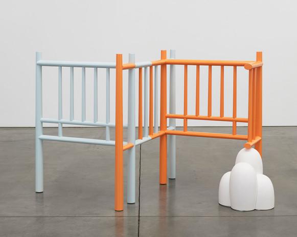 Richard Rezac Chigi, 2017 Painted maple wood, cast hydrocal, aluminum 45 x 69 x 43 inches