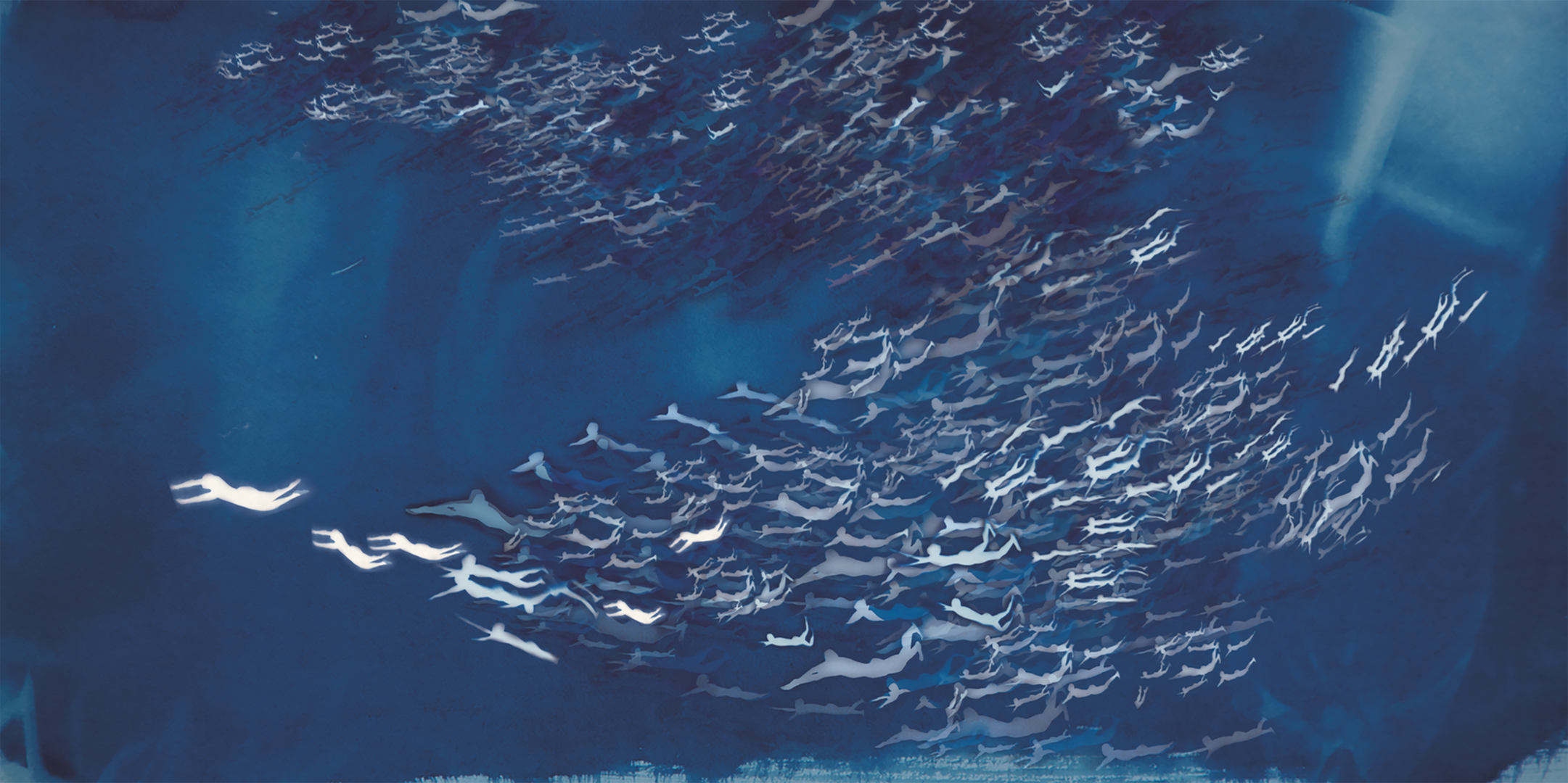 Han Qin, The Age of Migration 1, 2018, cyanotype, watercolor, inkjet print on silk, 28x 56 inches