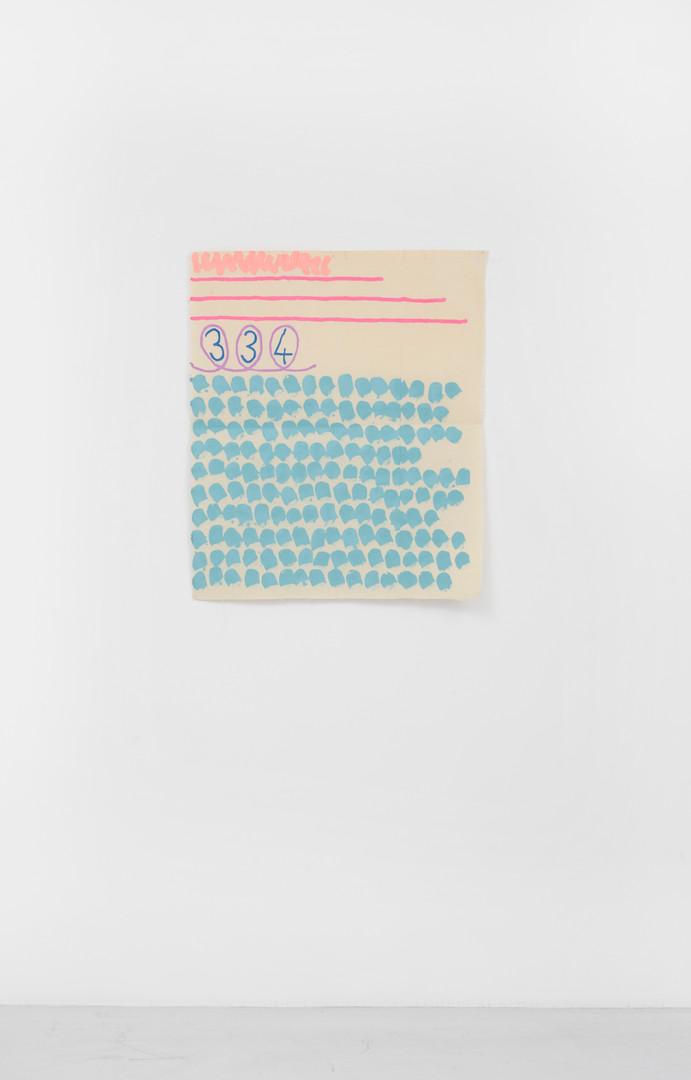 "Giorgio Griffa Tre linee con arabesco n.334, 1992 Acrylic on canvas 31.3 x 26"" / 80 x 66cm Photo: David Schulze ©Giorgio Griffa Image courtesy the artist and Casey Kaplan, New York."