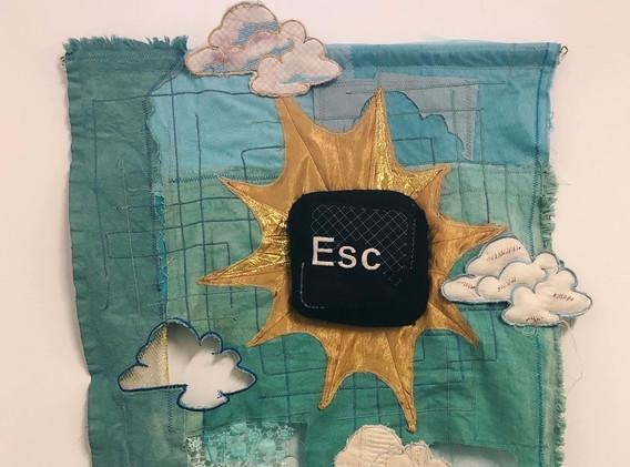 Kristen Heritage press escape machine embroidery, soft sculpture 22 x 32 inches  2020