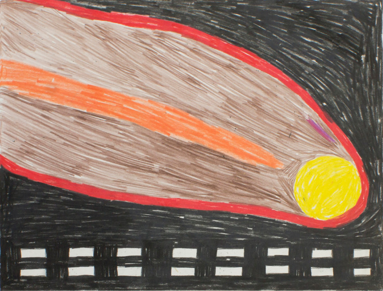 Comet, 2017 11x14 inches guache and colored pencil on paper