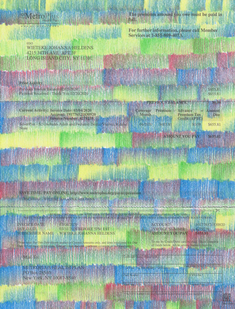 "Wieteke Heldens ""March, Health Insurance Bill"" 2020, colored pencil on the artist's health insurance bill, 11 x 8.5 in."