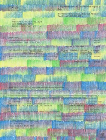 "Wieteke Heldens ""March, Health Insurance Bill"" 2020, colored pencil on the artist's health insurance bill, 11 x 8.5 in."