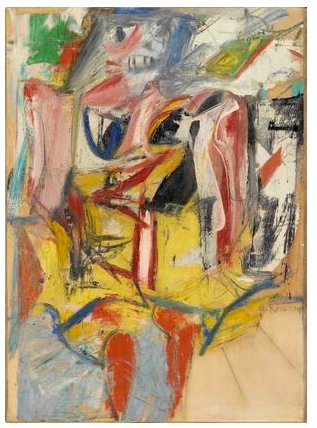 Willem de Kooning  Woman  1953  oil, enamel paints, and charcoal on paper mounted on canvas  29 1/8 x 21 1/2 inches (74 x 54.5 cm)  Glenstone Museum, Potomac, Maryland