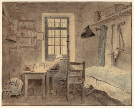 Hubert Robert An Inmate of Saint-Lazare Prison, 1794 Ink and graphite on paper 10 1/4 x 13 inches (26 x 33 cm) Private collection Photography by Kevin Noble