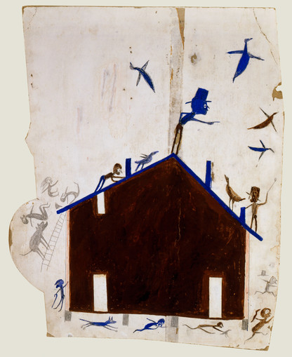 Bill Traylor, Brown House with Multiple Figures and Birds, 1939-1942 © Bill Traylor artwork is used by permission of Bill Traylor Family, Inc., and The Artistry of Bill Traylor, LLC