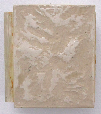 CHRISTOPHER STOUT The Wonderment of Otherness (Work Two), 2019 Layer 1: linen on board Layer 2: molded mixture of plaster mixed with shredded writing Layer 3: oil paint with paint pigment finished with acrylic resin 12 x 12 x 7 in. Courtesy Lichtundfire
