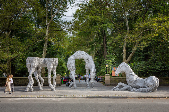 Jean-Marie Appriou, The Horses, 2019, Cast aluminum, courtesy of the artist and CLEARING, New York/Brussels; Galerie Eva Presenhuber, Zürich/New York Presented by Public Art Fund, Doris C. Freedman Plaza, Central Park, Sep 11, 2019 - Aug 30, 2020 Photo: Nicholas Knight, Courtesy of Public Art Fund, NY