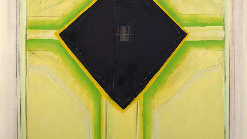 Ida Kohlmeyer (1912-1997) Black Insert, 1968  Mixed media on canvas 46 1/2 x 43 in. (118.1 x 109.2 cm) copyright Estate of Ida Kohlmeyer. Courtesy Berry Campbell, New York.